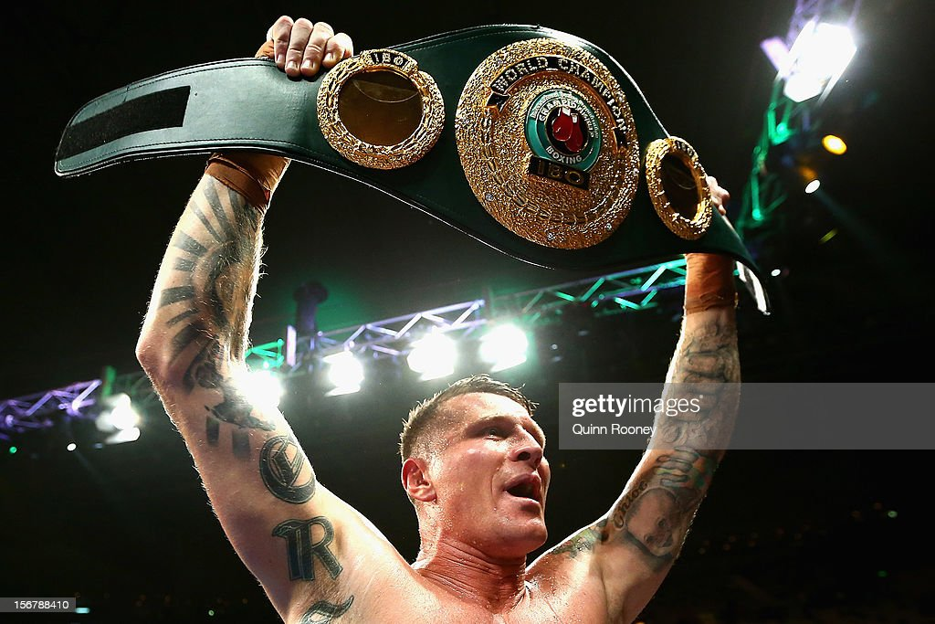 Danny Green of Australia celebrates with the belt after winning the world title bout between Danny Green of Australia and Shane Cameron of New Zealand at Hisense Arena on November 21, 2012 in Melbourne, Australia.