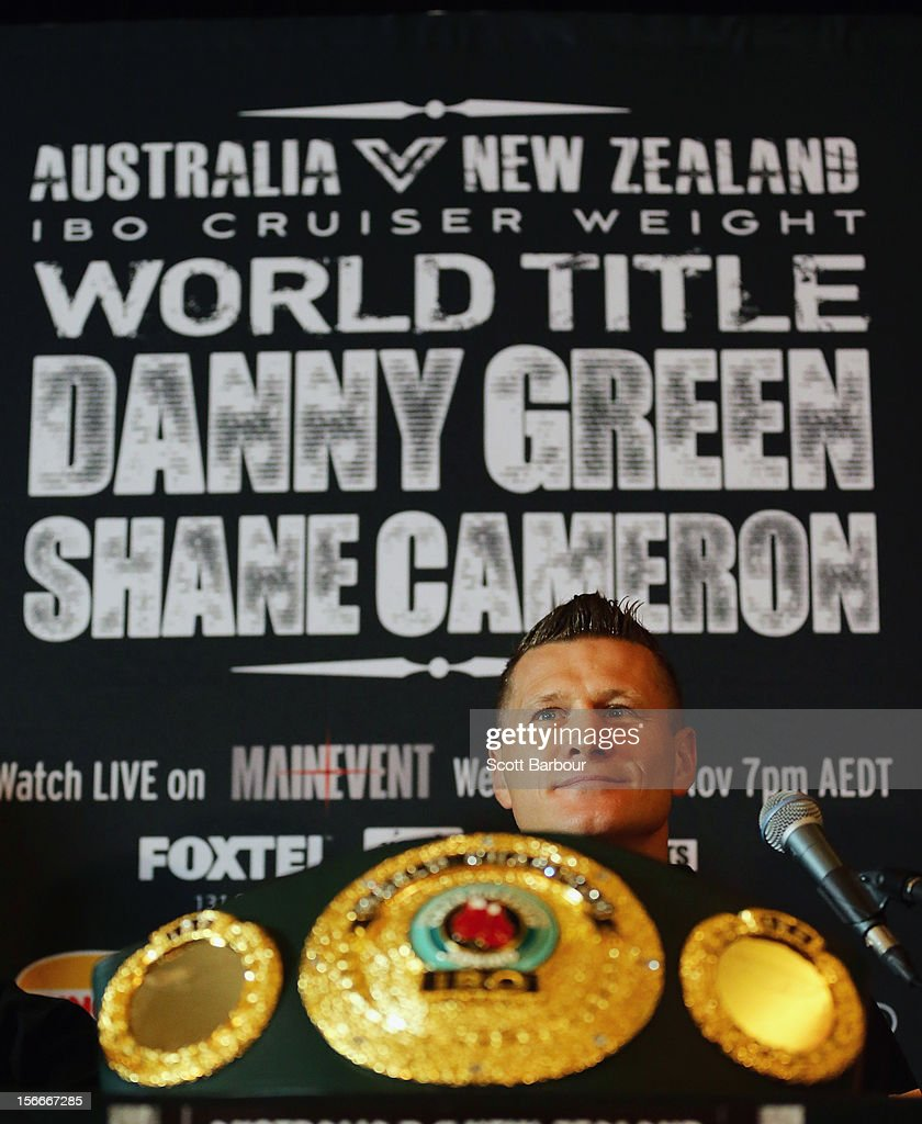 Danny Green of Australia looks on during a press conference at Crown Entertainment Complex on November 19, 2012 in Melbourne, Australia. Danny Green and Shane Cameron meet in an IBO World Title bout on Wednesday.