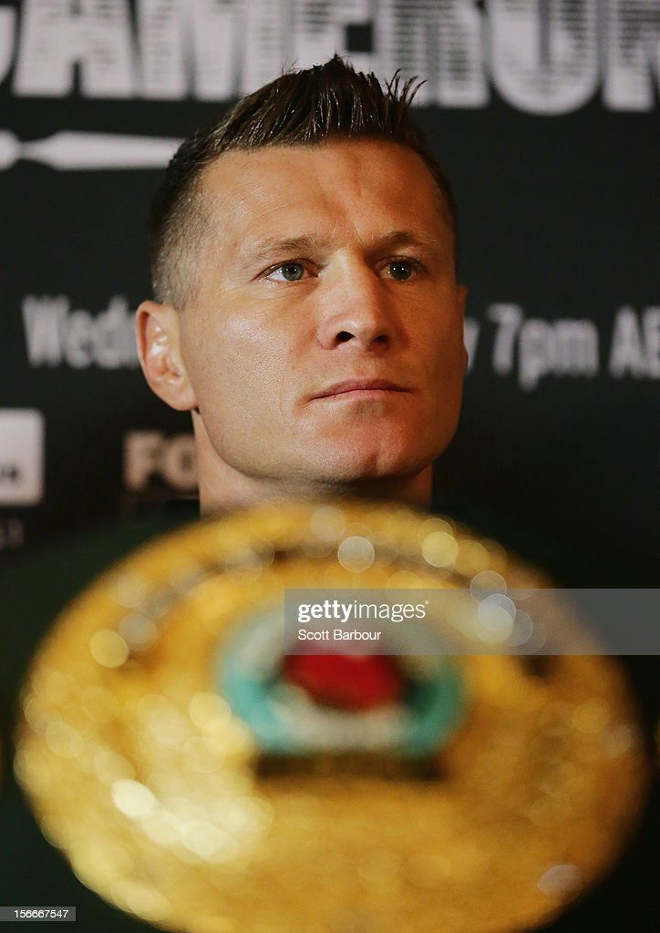 Danny Green of Australia looks on in front of the International Boxing Organization World Champion Belt as it sits on display during a press conference at Crown Entertainment Complex on November 19, 2012 in Melbourne, Australia. Danny Green and Shane Cameron meet in an IBO World Title bout on Wednesday.