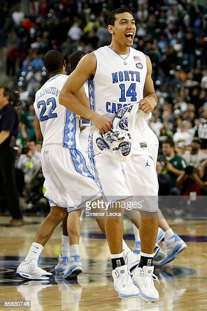 Danny Green of the North Carolina Tar Heels celebrates with his teammates after defeating the Michigan State Spartans 8972 during the 2009 NCAA...