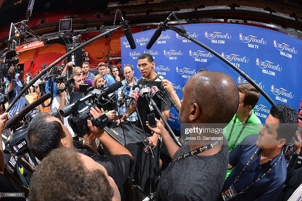 Danny Green of the San Antonio Spurs addresses the media as part of the 2013 NBA Finals on June 19, 2013 at American Airlines Arena in Miami, Florida.