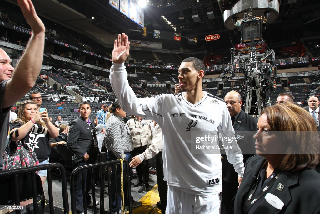 Danny Green #4 of the San Antonio Spurs after breaking the NBA record for most three-point shots made in a Finals series during Game Five of the 2013 NBA Finals on June 16, 2013 at the AT&T Center in San Antonio, Texas.