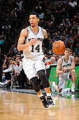 Danny Green of the San Antonio Spurs brings the ball up court against the Minnesota Timberwolves on March 15 2015 at the ATT Center in San Antonio...