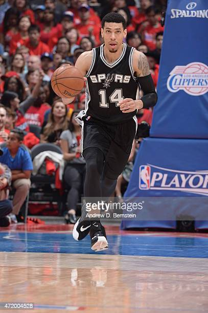 Danny Green of the San Antonio Spurs brings the ball up court against the Los Angeles Clippers in Game Seven of the Western Conference Quarterfinals...