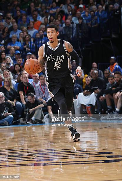Danny Green of the San Antonio Spurs brings the ball up court against the Oklahoma City Thunder on October 18 2015 at Chesapeake Energy Arena in...