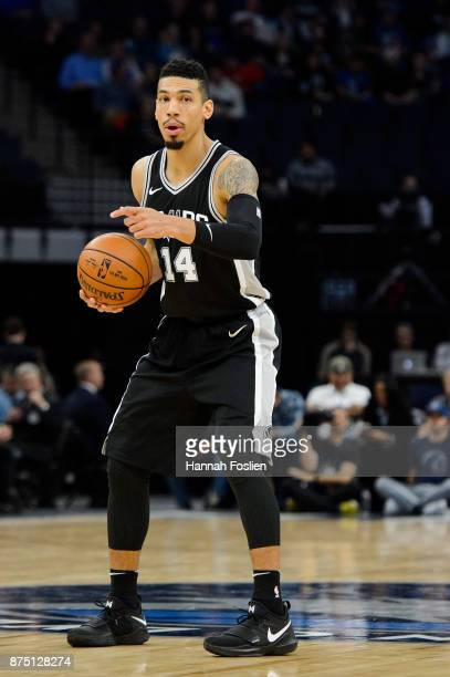 Danny Green of the San Antonio Spurs calls a play against the Minnesota Timberwolves during the game on November 15 2017 at the Target Center in...