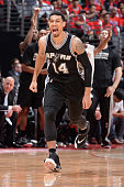 Danny Green of the San Antonio Spurs celebrates during a game against the Los Angeles Clippers in Game Seven of the Western Conference Quarterfinals...
