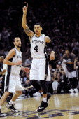 Danny Green of the San Antonio Spurs celebrates during a game against the Oklahoma City Thunder in Game One of the Western Conference Finals during...