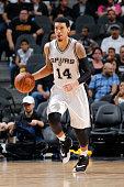 Danny Green of the San Antonio Spurs dribbles the ball against the San Antonio Spurs on December 21 2015 at the ATT Center in San Antonio Texas NOTE...
