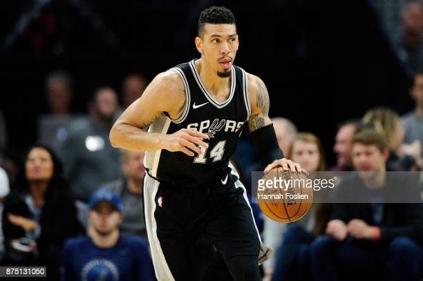 Danny Green of the San Antonio Spurs dribbles the ball against the Minnesota Timberwolves during the game on November 15 2017 at the Target Center in...