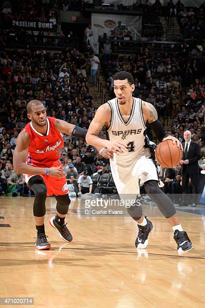 Danny Green of the San Antonio Spurs drives to the basket against Chris Paul of the Los Angeles Clippers during Game Three of the Western Conference...