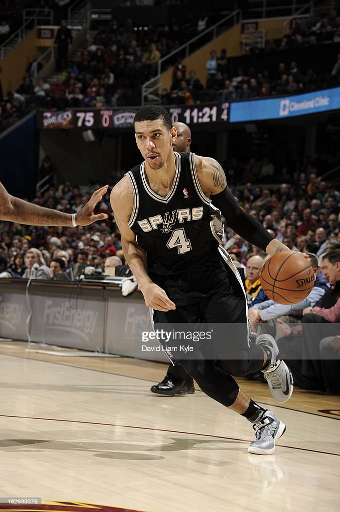 Danny Green #4 of the San Antonio Spurs drives to the basket against the Cleveland Cavaliers at The Quicken Loans Arena on February 13, 2013 in Cleveland, Ohio.