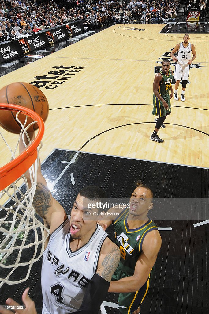 Danny Green #4 of the San Antonio Spurs drives to the basket against the Utah Jazz on March 22, 2013 at the AT&T Center in San Antonio, Texas.