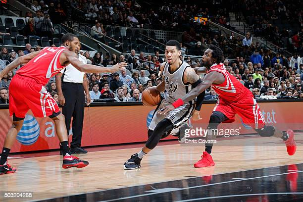 Danny Green of the San Antonio Spurs drives to the basket against the Houston Rockets during the game on January 2 2016 at ATT Center in San Antonio...
