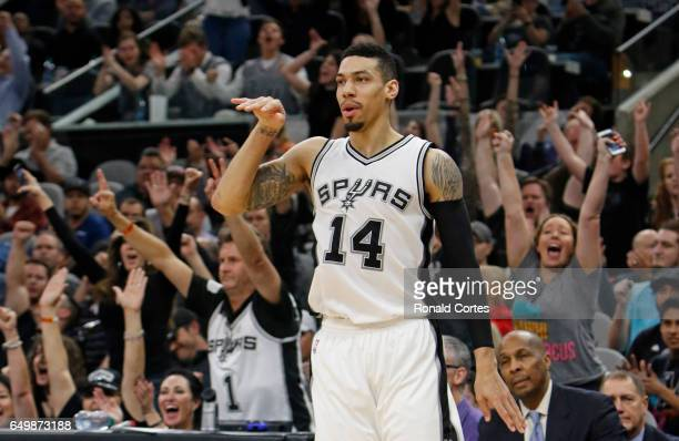Danny Green of the San Antonio Spurs gets a reaction from fans after hitting a three against the Sacramento Kings at ATT Center on March 8 2017 in...