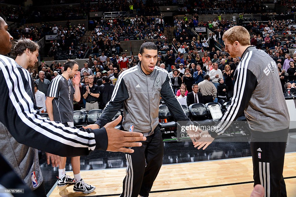 Danny Green #4 of the San Antonio Spurs greets teammates before playing the Houston Rockets on December 28, 2012 at the AT&T Center in San Antonio, Texas.