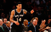 Danny Green of the San Antonio Spurs in action against the New York Knicks at Madison Square Garden on March 17 2015 in New York City The Knicks...