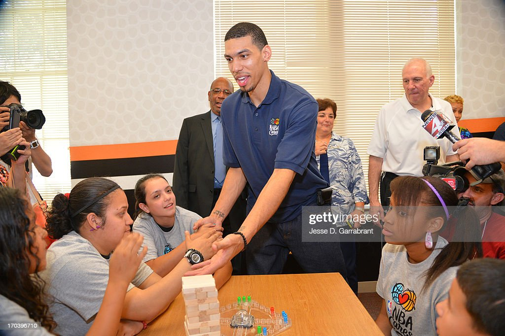 Danny Green of the San Antonio Spurs interacts with the kids at the 2013 NBA Cares Legacy Project as part of the 2013 NBA Finals on June 7, 2013 at the Wheatley Middle School in San Antonio, Texas.
