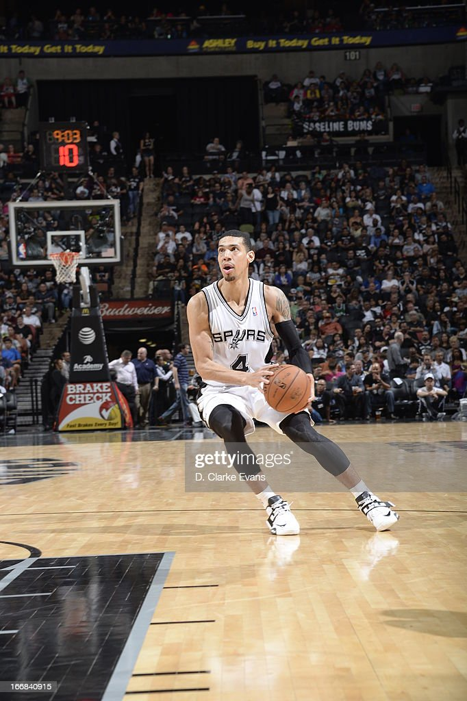 Danny Green #4 of the San Antonio Spurs sets up for a jumper against the Minnesota Timberwolves on April 17, 2013 at the AT&T Center in San Antonio, Texas.