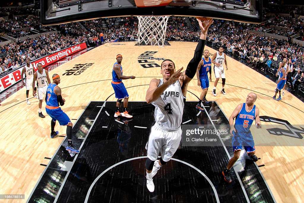 Danny Green #4 of the San Antonio Spurs shoots a layup against the New York Knicks on November 15, 2012 at the AT&T Center in San Antonio, Texas.