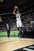 Danny Green of the San Antonio Spurs shoots against the Charlotte Hornets on January 28 2015 at the ATT Center in San Antonio Texas NOTE TO USER User...