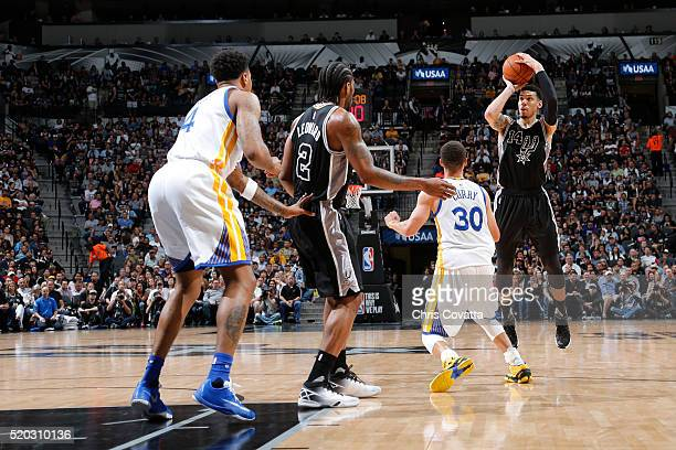 Danny Green of the San Antonio Spurs shoots against the Golden State Warriors on April 10 2016 at the ATT Center in San Antonio Texas NOTE TO USER...
