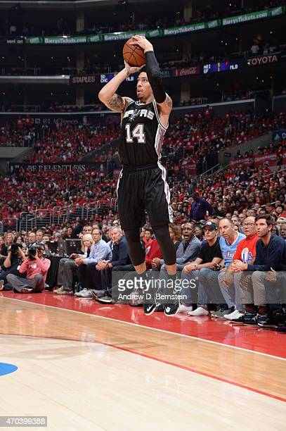 Danny Green of the San Antonio Spurs shoots against the Los Angeles Clippers in Game One of the Western Conference Quarterfinals during the 2015 NBA...