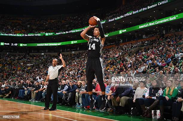Danny Green of the San Antonio Spurs shoots the ball against the Boston Celtics during the game on November 1 2015 at the TD Garden in Boston...