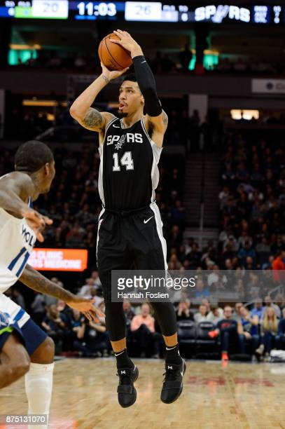 Danny Green of the San Antonio Spurs shoots the ball against the Minnesota Timberwolves during the game on November 15 2017 at the Target Center in...