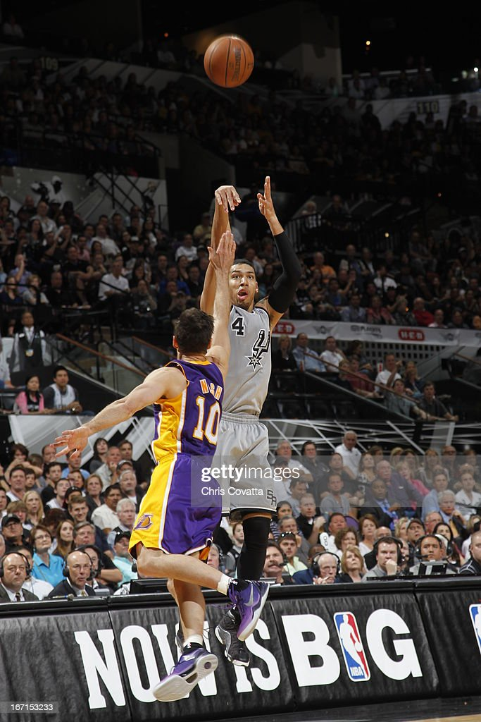 Danny Green #4 of the San Antonio Spurs shoots the ball over Steve Nash #10 of the Los Angeles Lakers during the Game One of the Western Conference Quarterfinals between the Los Angeles Lakers and the San Antonio Spurs on April 21, 2013 at the AT&T Center in San Antonio, Texas.