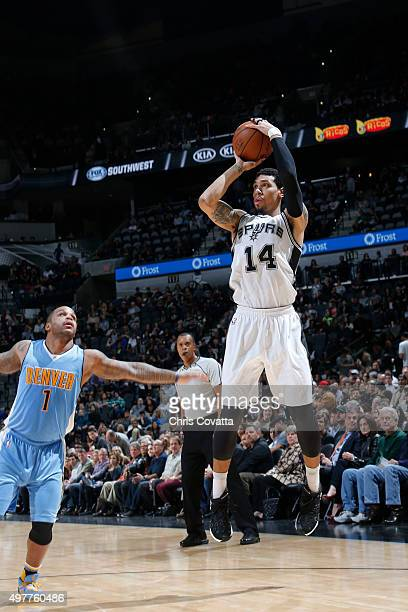 Danny Green of the San Antonio Spurs shoots the ballagainst the Denver Nuggets on November 18 2015 at the ATT Center in San Antonio Texas NOTE TO...