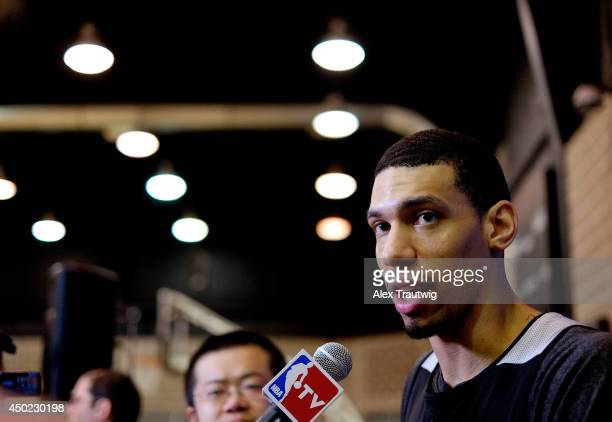 Danny Green of the San Antonio Spurs speaks to the media after practice on an off day following Game One of the 2014 NBA Finals against the Miami...