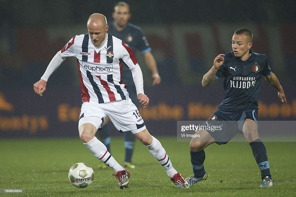 Danny Guijt of Willem II, Jordy Clasie of Feyenoord during the Dutch Eredivisie match between Willem II and Feyenoord at the Koning Willem II Stadium on february 3, 2013 in Tilburg, The Netherlands