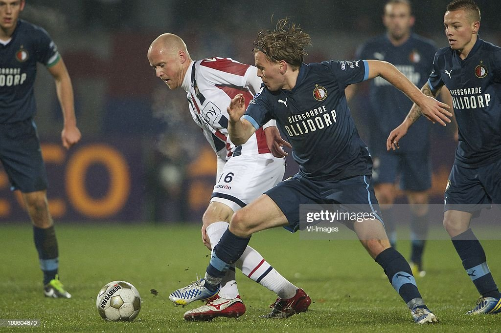 Danny Guijt of Willem II, Ruud Vormer of Feyenoord, during the Dutch Eredivisie match between Willem II and Feyenoord at the Koning Willem II Stadium on february 3, 2013 in Tilburg, The Netherlands