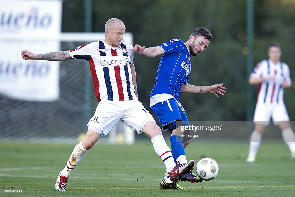 Danny Guijt of Willem II, Yigit Incedemir of Karabukspor during the match between Willem II and Karabukspor on January 10, 2013 at Belek, Turkey.