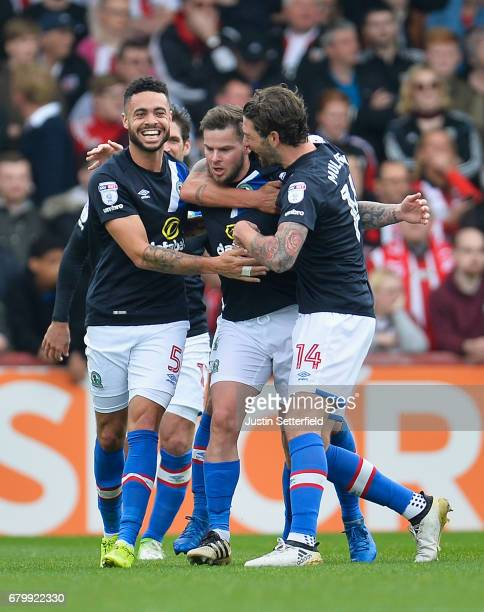 Danny Guthrie of Blackburn Rovers celebrates scoring his sides second goal with his Blackburn Rovers team mates during the Sky Bet Championship match...