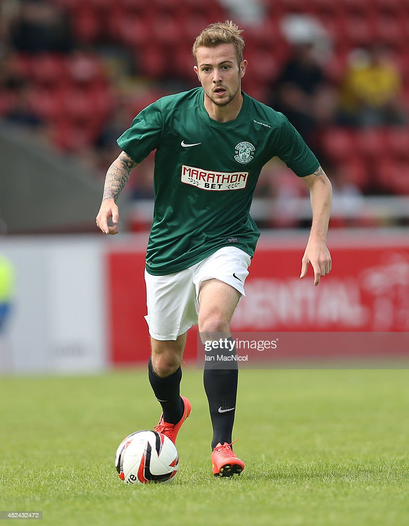 Danny Handling of Hibernian controls the ball during the Pre Season Friendly match between Stirling Albion and Hibernian at Forthbank Stadium on July 20, 2014 in Stirling, Scotland.
