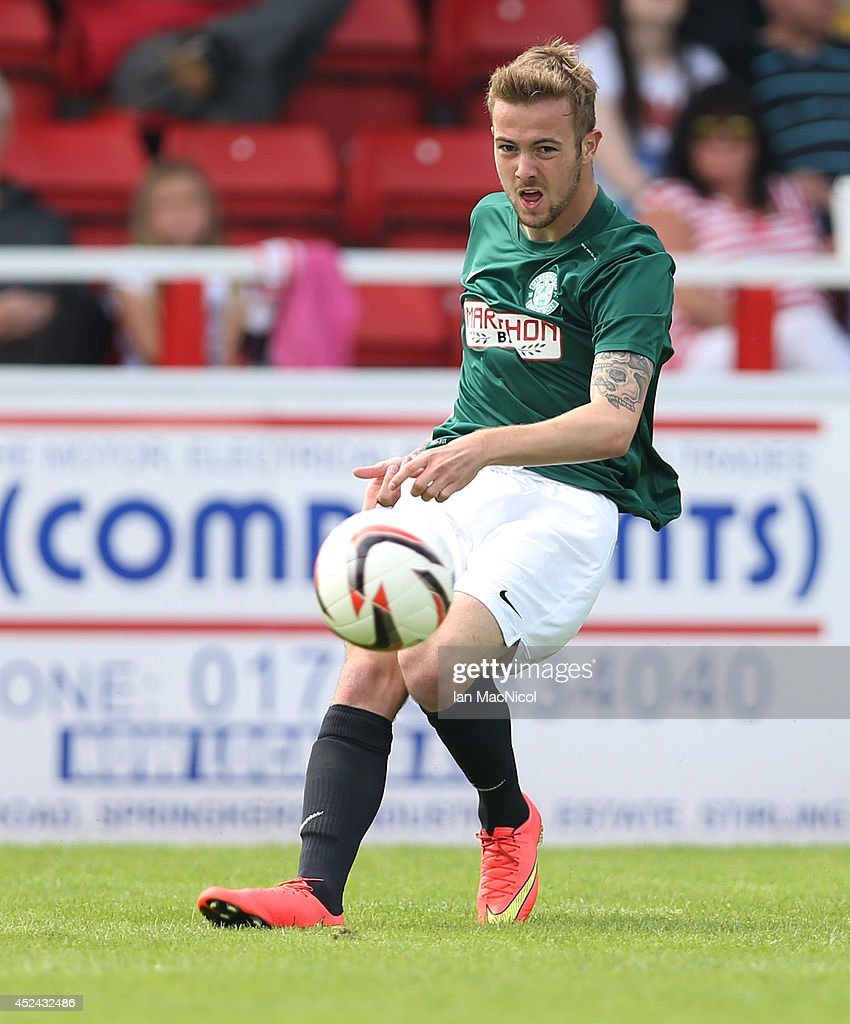 Danny Handling of Hibernian kicks the ball during the Pre Season Friendly match between Stirling Albion and Hibernian at Forthbank Stadium on July 20, 2014 in Stirling, Scotland.