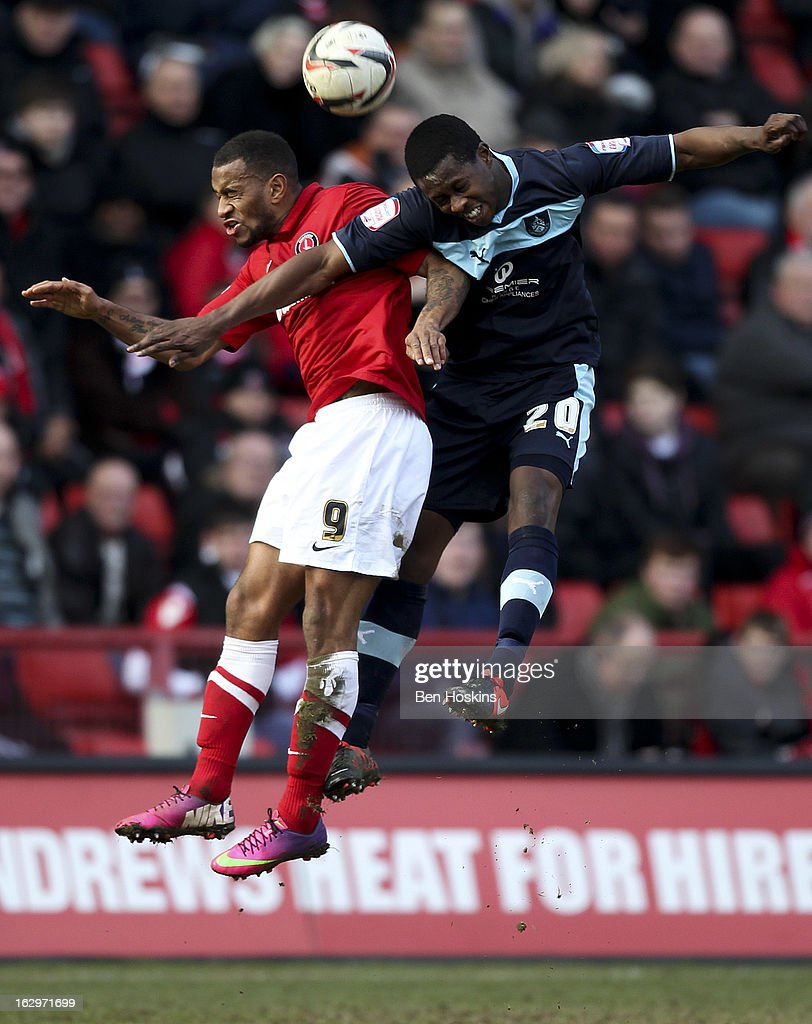 Danny Haynes of Charlton and Marvin Bartley of Burnley battle for an aerial ball during the npower Championship match between Charlton Athletic and Burnley at the Valley on March 02, 2013 in London, England.