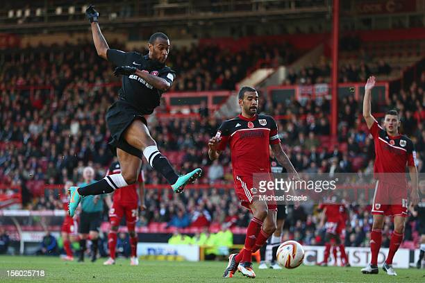 Danny Haynes of Charlton Athletic shoots at goal during the Bristol City versus Charlton Athletic npower Championship match at Ashton Gate on...