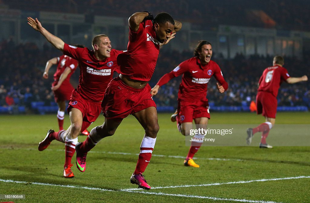 Danny Haynes of Charlton celebrates scoring his teams second goal during the npower Championship match between Peterborough United and Charlton Athletic at London Road Stadium on March 5, 2013 in Peterborough, England.
