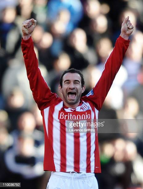 Danny Higginbotham of Stoke City celebrates victory after the FA Cup sponsored by EON 6th Round match between Stoke City and West Ham United at the...