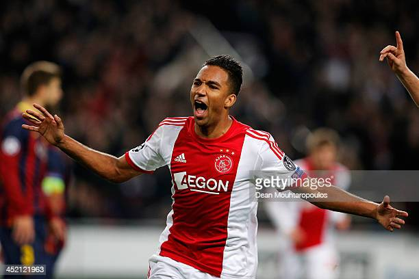Danny Hoesen of Ajax celebrates scoring the second goal of the game during the UEFA Champions League Group H match between Ajax Amsterdam and FC...