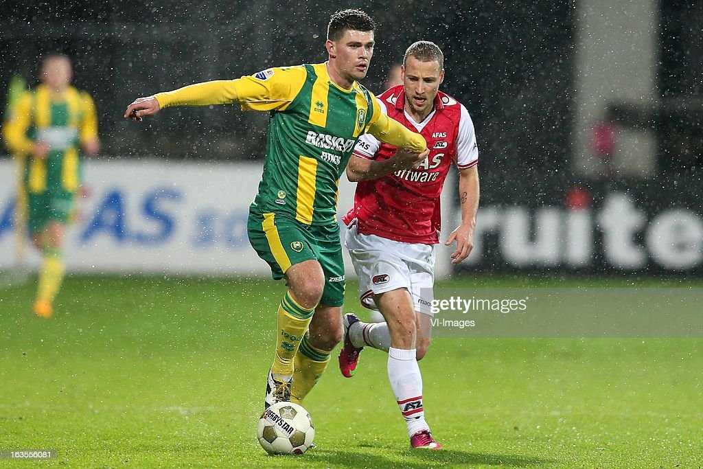 Danny Holla of ADO Den Haag ,Roy Beerens of AZ during the Dutch Eredivisie match between AZ Alkmaar and ADO Den Haag at the AFAS Stadium on march 09, 2013 in Alkmaar, The Netherlands