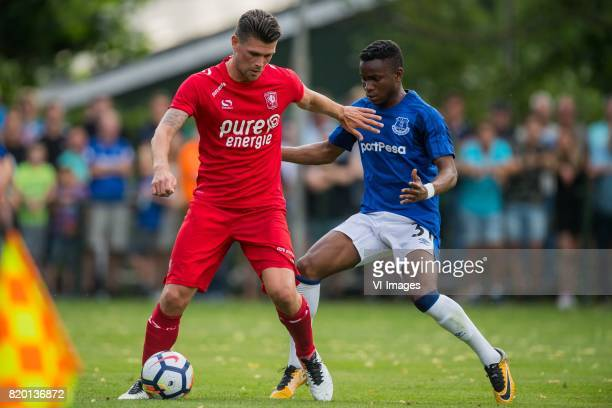 Danny Holla of FC Twente Ademola Lookman of Everton FC during the friendly match between FC Twente and Everton FC at sportpark De Stockakker on July...