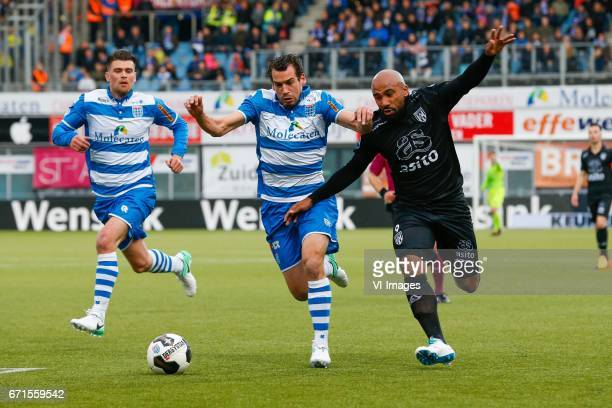 Danny Holla of PEC Zwolle Dirk Marcellis of PEC Zwolle Samuel Armenteros of Heracles Almeloduring the Dutch Eredivisie match between PEC Zwolle and...