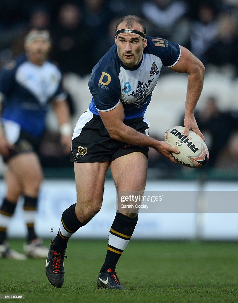 Danny Houghton of Hull FC in action during a pre-season friendly match between Hull FC and Castleford Tigers at The KC Stadium on January 13, 2013 in Hull, England.
