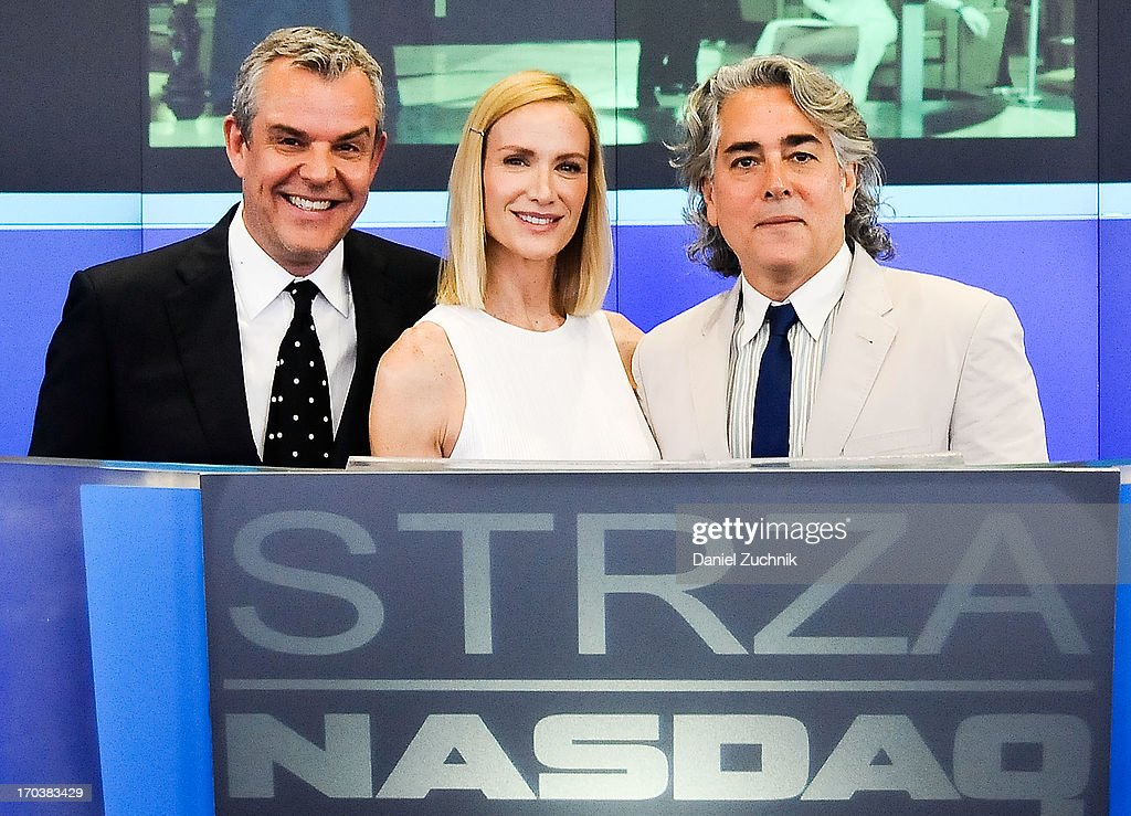 Danny Huston, Kelly Lynch and Mitch Glazer visit the NASDAQ MarketSite on June 12, 2013 in New York City.