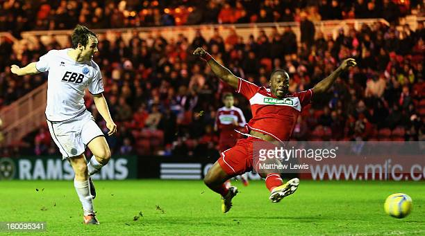 Danny Hylton of Aldershot scores a goal during the FA Cup sponsored by Budweiser Fourth Round match between Middlesbrough and Aldershot Town at...