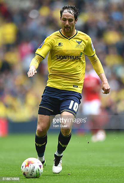Danny Hylton of Oxford United in action during the Johnstone's Paint Trophy Final match between Oxford United and Barnsley at Wembley Stadium on...